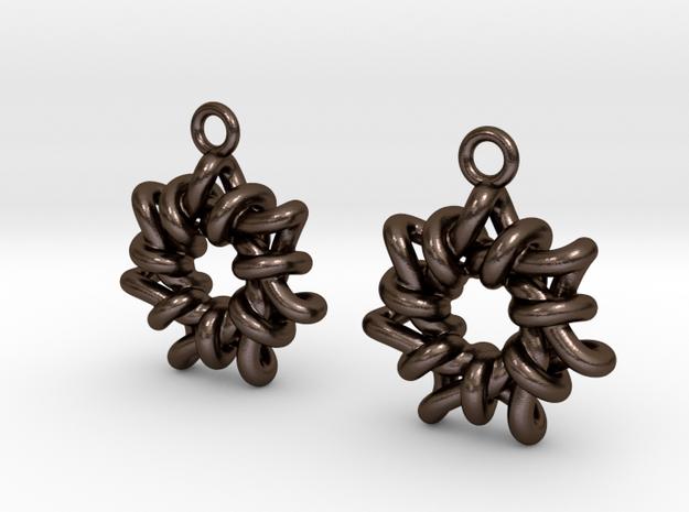 Torus1 Earrings in Polished Bronze Steel