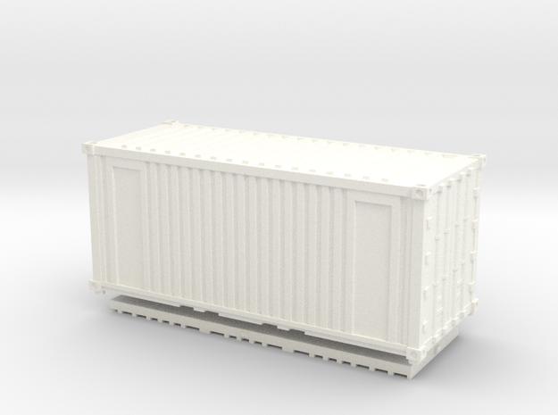 Z Scale 20' Intermodal Container in White Processed Versatile Plastic