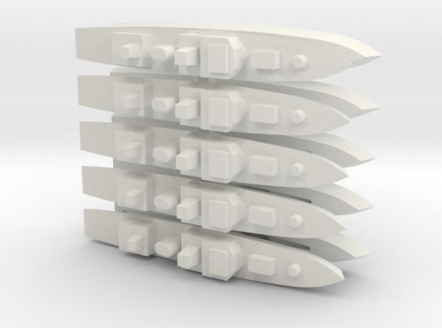 60OT01 1:6000 Generic medium warship X10 in White Natural Versatile Plastic