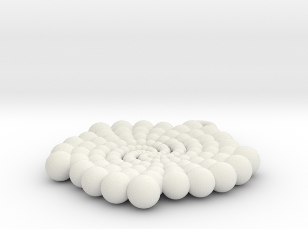 Phi Pendant in White Natural Versatile Plastic