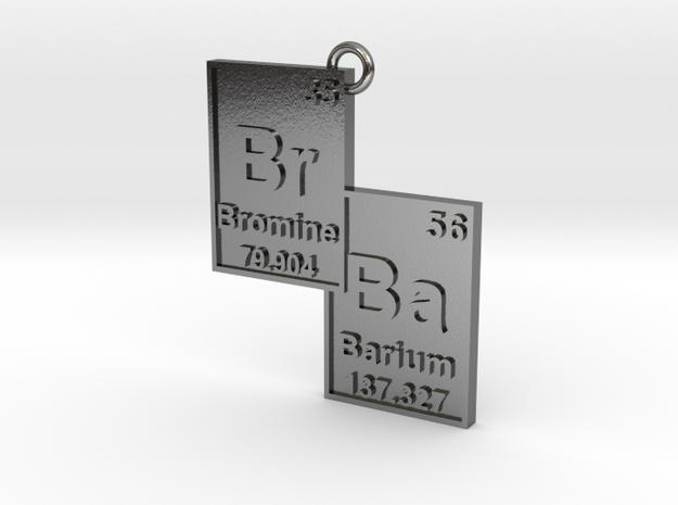 """Br/Ba"" Bromine and Barium Periodic Table Pendant 3d printed"