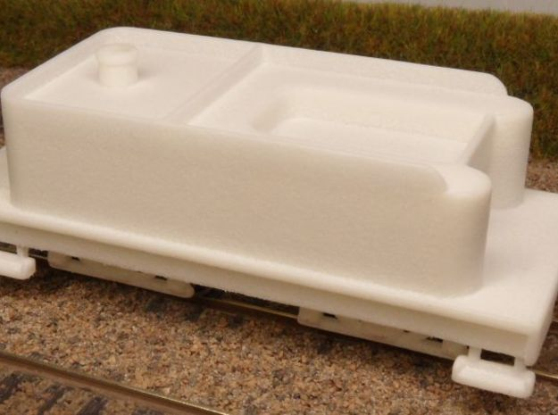 H0n30 Tender with 2 trucks (type 2A) in White Processed Versatile Plastic