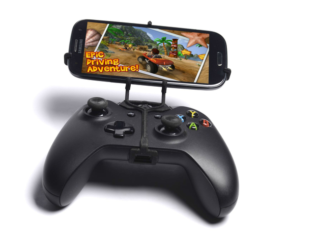 Xbox One controller & Panasonic P51 3d printed Front View - A Samsung Galaxy S3 and a black Xbox One controller