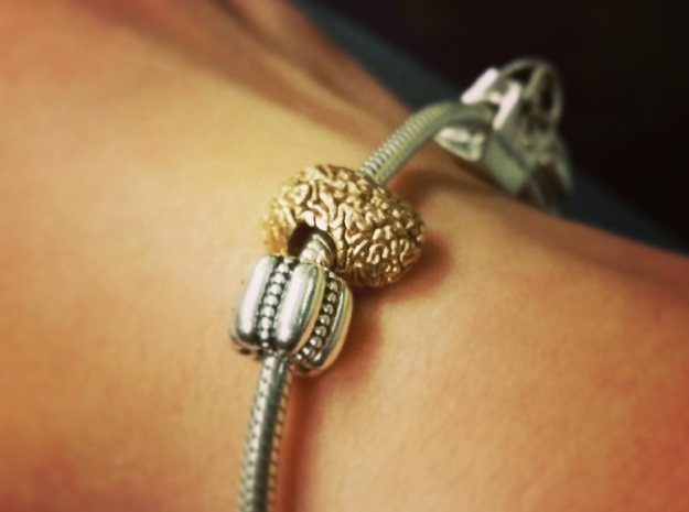 Brain European Charm Bracelet Bead in Natural Bronze