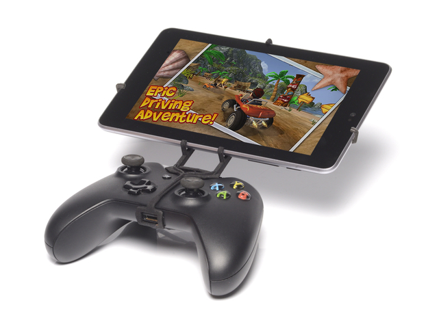 Xbox One controller & Asus Transformer Pad TF300TG 3d printed Front View - A Nexus 7 and a black Xbox One controller