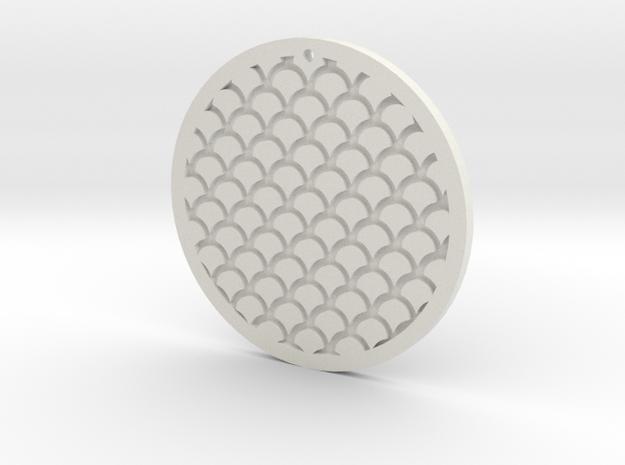 Circle Pendant in White Natural Versatile Plastic