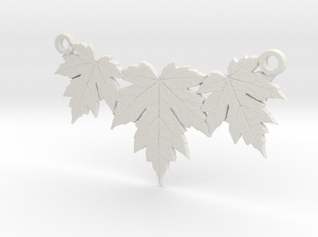 Maple Leaf Necklace in White Natural Versatile Plastic