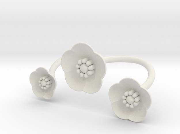 S46 Multi Flower Double Bypass Ring To Print BSF in White Natural Versatile Plastic