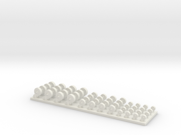 2-3-4 Casters 1/35 scale in White Natural Versatile Plastic