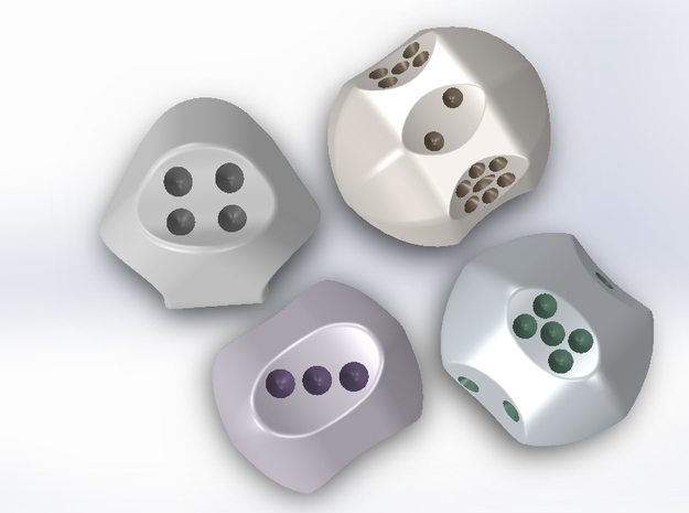 Set of dice with concave faces (pips) 3d printed