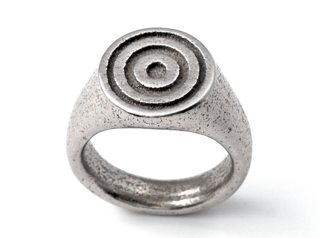 Target Ring in Polished Bronzed Silver Steel