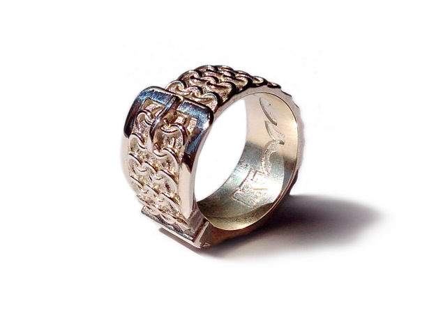 BELT ring in Polished Silver: 8 / 56.75