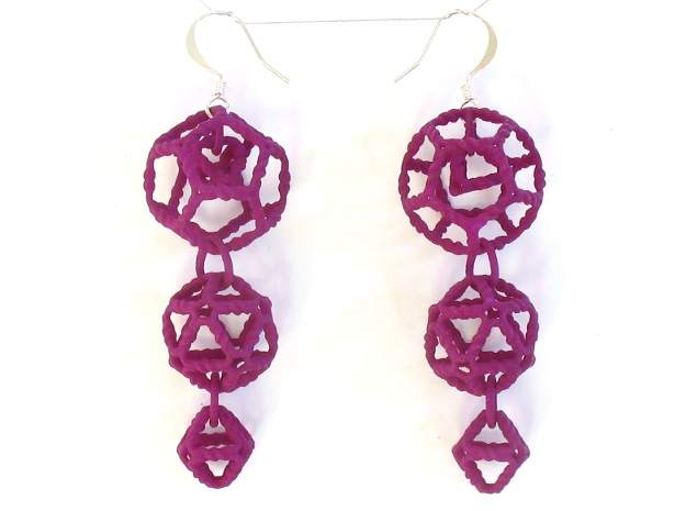 Platonic Progression Earrings - Organic 3d printed Printed in purple strong and flexible, with earwires added