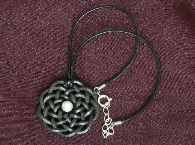 Woven Starburst Pendant 3d printed Necklace made from pendant printed in matte black steel.  We offer complete necklaces like this in our Etsy shop!
