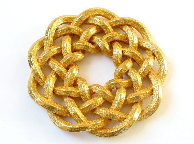 Woven Starburst Pendant 3d printed Pendant printed in polished gold steel