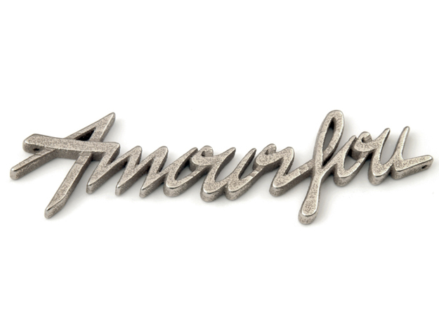 Amour Fou Pendant in Polished Bronzed Silver Steel