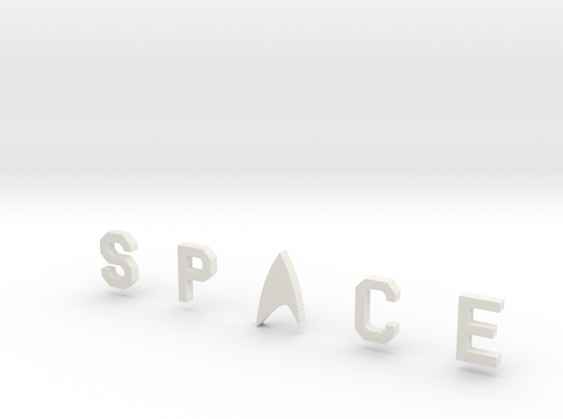 Space Bar Lettering in White Natural Versatile Plastic