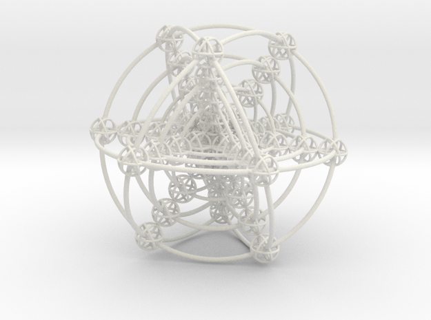 Multi-shell Metatrons Hypercube Atomic Grid Vector in White Natural Versatile Plastic