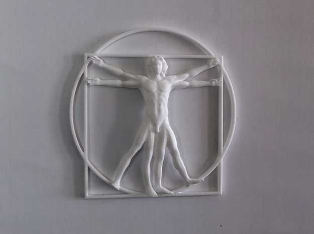 Vitruvian Man Flat  in White Strong & Flexible