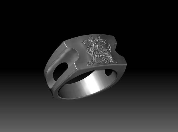 Dragon Signet Ring in Polished Silver