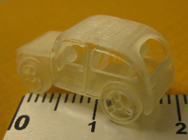 Micro car with turning wheels 3d printed