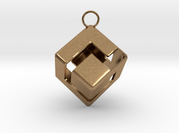 Gamecube Logo Pendant in Raw Brass