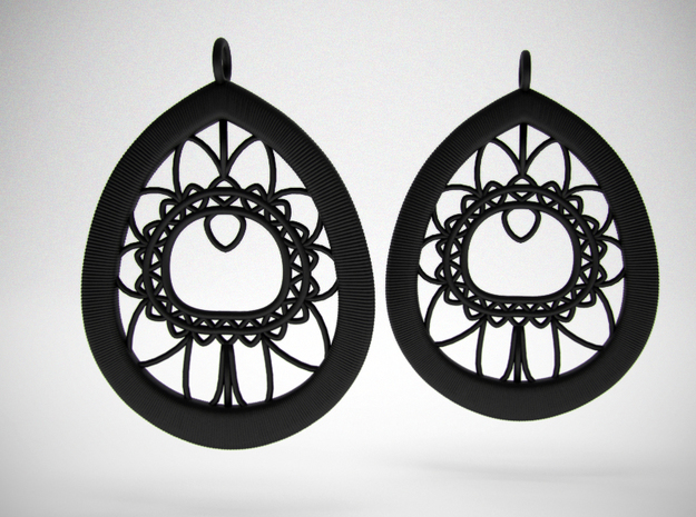 Peacock Feather Lace Earrings in Black Natural Versatile Plastic