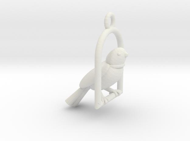 Swinging Bird Earring in White Natural Versatile Plastic