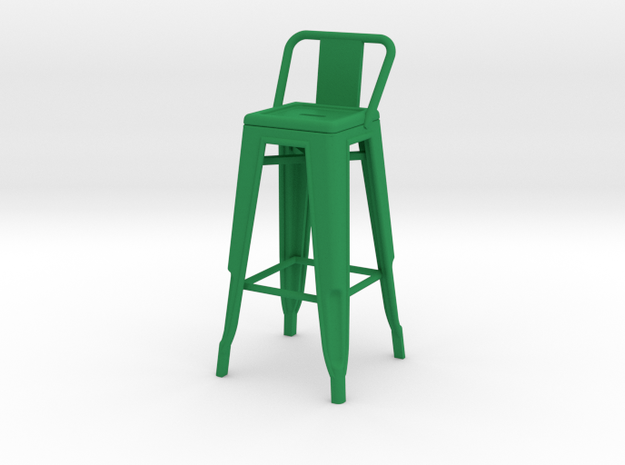 1:12 Tall Pauchard Stool, with Short Back in Green Processed Versatile Plastic