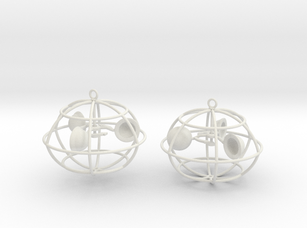 The anemometer earrings in White Natural Versatile Plastic