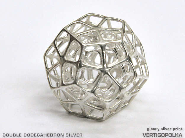 Double Dodecahedron Silver in Polished Silver