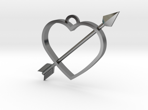 Cupid's Arrow Heart Pendant in Fine Detail Polished Silver