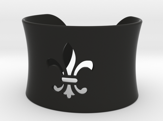 Fleur De Lis Bangle Cuff Bracelet in Black Natural Versatile Plastic
