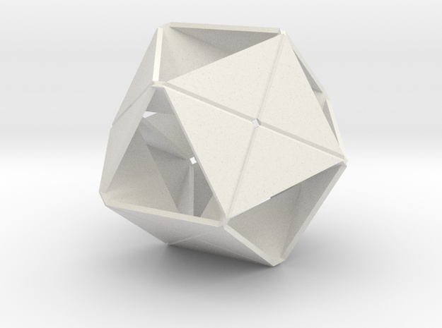 Octahedron of Folded Hexagons in White Natural Versatile Plastic