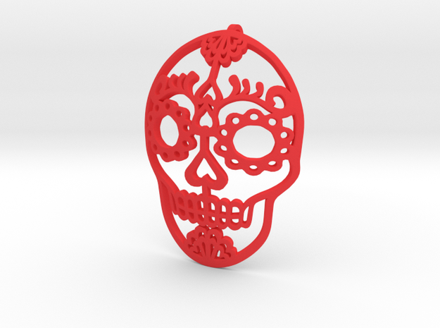 Day of the Dead Skull Pendant in Red Processed Versatile Plastic