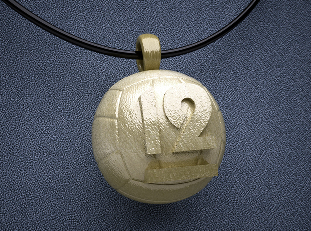 Volleyball Pendant  #12  in Polished Gold Steel