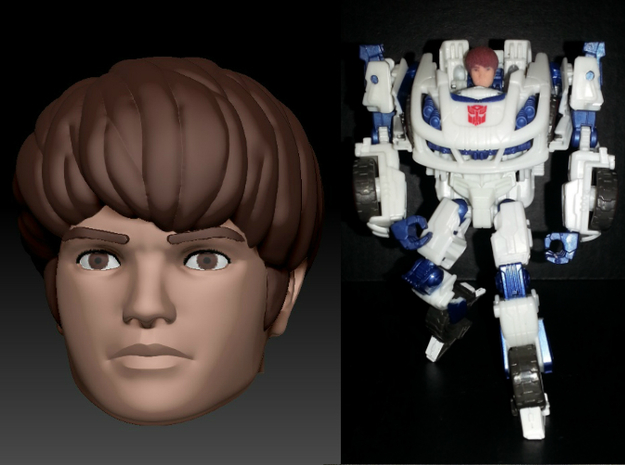 Daniel Homage Exosuit Head For TF FOC JAZZ 3d printed JAZZ body is fully transformable with head attached.Daniel head printed in Full Color Sandstone on Generations Deluxe Class FOC Jazz
