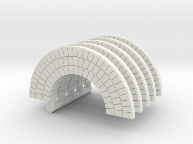 HO Brick Arch x 5 in White Natural Versatile Plastic