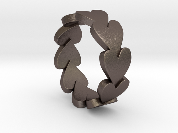 Heart Ring Size 9 in Polished Bronzed Silver Steel
