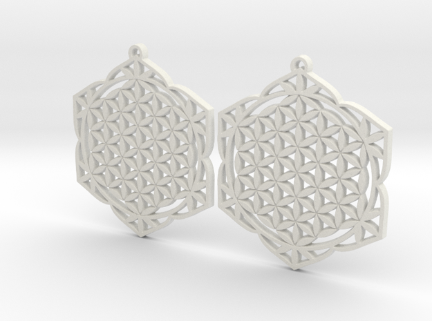 43x2mm Lotus of Life Ear Rings - Sacred Geometry in White Strong & Flexible