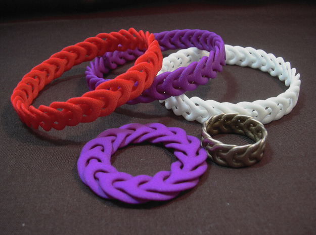 Three Phase bracelet 65mm in White Strong & Flexible