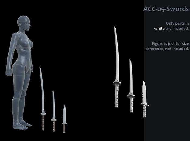 ACC-05-Swords  7inch MOTU in White Strong & Flexible Polished