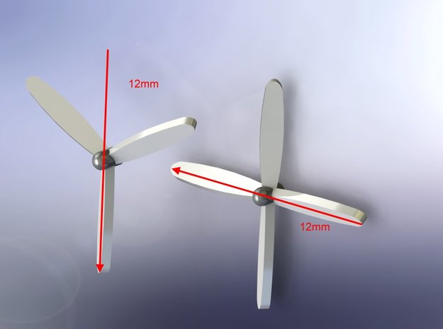 4-Blade Propeller x 8 12mm Diameter 1/285 6mm   in Smooth Fine Detail Plastic