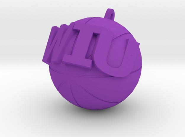 WIU Basketball charm in Purple Processed Versatile Plastic