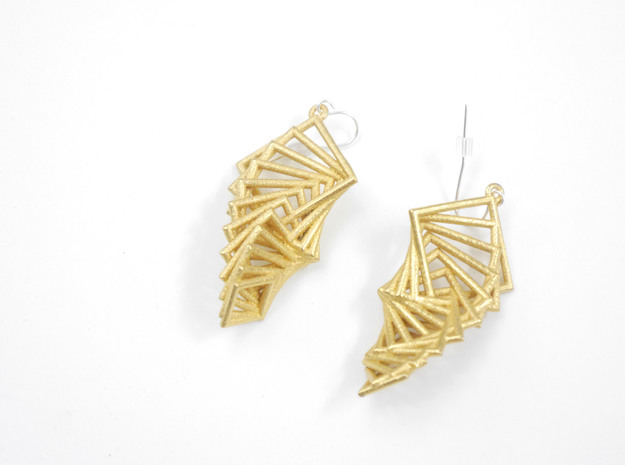 Arithmetic Earrings (Rhombus) in Polished Gold Steel