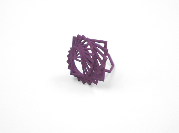 Arithmetic Ring (Size 6) 3d printed Eggplant Nylon (Custom Dyed Color)