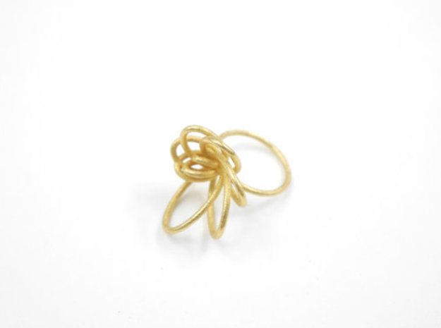 Flora Ring A (Size 9) in Polished Gold Steel