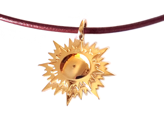 """doppio sole"" pendant (cm 2,6) in Polished Brass"