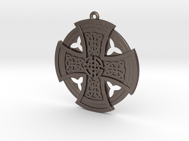 Celtic Cross in Polished Bronzed Silver Steel