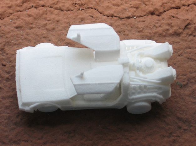Time Traveling Delorean 3d printed WSF print with the doors open.